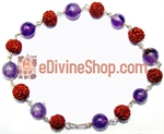 Picture of Rudraksha Amethyst Combination Silver Bracelet