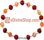 Picture of Rudraksha Carnelian Combination Bracelet in silver
