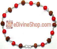 Picture of Rudraksha and Coral Combination Bracelet in Silver