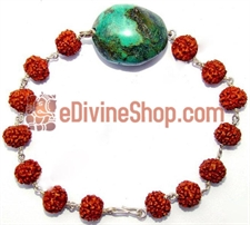 Picture of Rudraksha Turquoise (Firoza) Tumble of Very High Quality Bracelet in Silver
