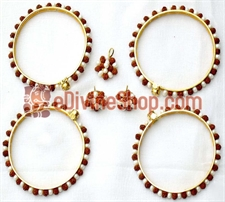 Picture of Rudraksha Pearl Combination Bangles, Earrings and Pendant - Jewellery Set