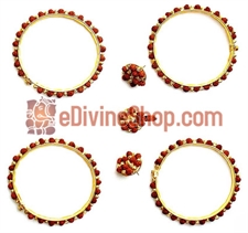 Picture of Rudraksha Gold Plated Beads Combination Bangles, Earrings and Pendant - Jewellery Set