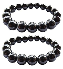 Picture of Set Of 2 Magnetic Hematite Therapy Bracelets Lg 12mm / Pain Relief