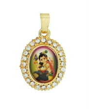 Picture of Colorful Baby Ganesh Pendant in Yellow Metal with Artificial Stones