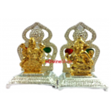 Picture of Gold Plated and Silver Hindu God Idol of Small Laxmi GanesG Size:-3.5X2.5X2 cm +3.5X2.5X2 cm