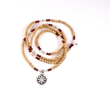 Picture of Sakti Rudrani Mala with Lotus Beads, Fresh Water Pearls, Garnet, Amber and 9.25 Sterling Silver - 3mm Beads