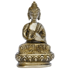 Picture of Buddhist Statues Buddha Brass Metal Sculpture India Gift: 4.45 x 7.62 x 3.18 Cms