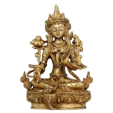 Picture of Buddhist Home Décor Sitting Tara Buddha Brass Statue Religious Gifts 20.96 cm