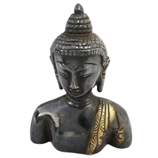 Picture of Decorative Black Lord Buddha Sculpture Hand Craved Brass Metal Figurine Home Décor Art India