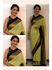 Picture of Madhuri Dixit Olive Green Sari With Black Blouse BWR179