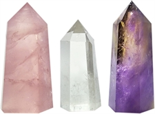 Picture of Set of 3 Healing Stone Wands of 3 Crystals, Rose Quartz, Clear Quartz, Amethyst, Pointed & Faceted Prism Bars for Reiki Chakra Meditation Therapy Deco